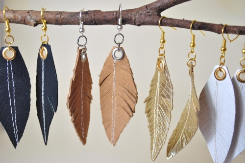 Up-cycled Leather Feather Earrings by Nadine Schmoll of Spitfire Designs.