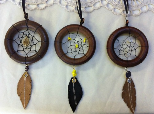 Up-cycled dreamcatchers by Nadine Schmoll of Spitfire Designs.