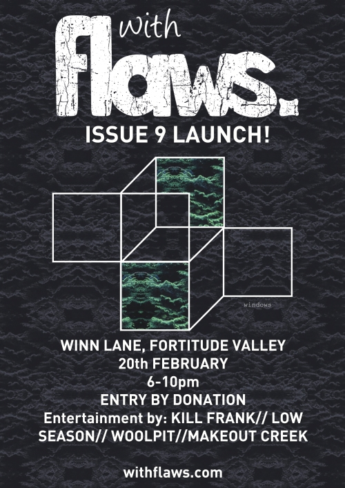 withflaws. issue 9 launch poster- A3